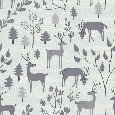 Nálepka Bezproblémové vzorek s jeleny v zimním lese