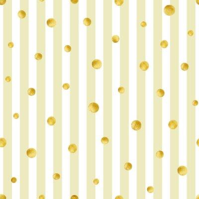 Nálepka Bezproblémové vzorek s ručně malovanými zlatými kruhy. Gold polka dot pattern