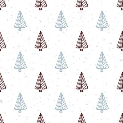 Nálepka Bezproblémové vzorek s rukou tažené vánoční stromek. Doodle dovolenou pozadí