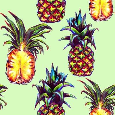 Nálepka Bezproblémové vzorek s tropickými rostlinami a ovocem