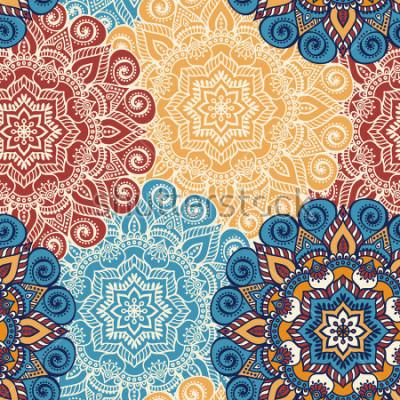 Nálepka Bezproblémové vzorové dlaždice s mandalami. Klasické dekorativní prvky. Manuální pozadí. Islám, arabské, indické, osmanské motivy. Perfektní pro tisk na kartě nebo papír.