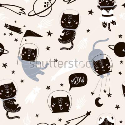 Nálepka Bezproblémový dětský vzorek s roztomilými kočkami astronauti. Kreativní pozadí školky. Ideální pro děti design, tkanina, obal, tapety, textil, oděv