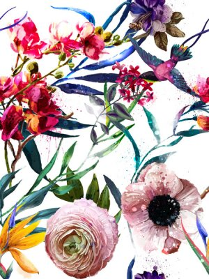 Nálepka bezproblémový exotický květinový vzor módy