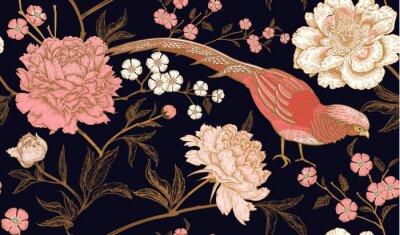 Nálepka Bezproblémový vzor s exotickými bažanty ptáků a pivoňkovými květinami.