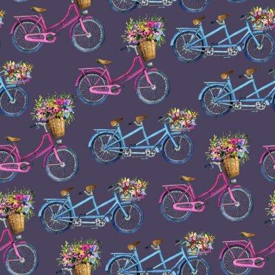 Nálepka bezproblémový vzor s jízdními koly a květinami