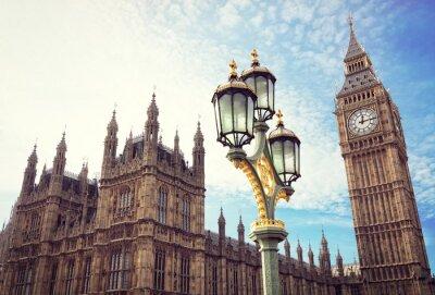 Nálepka Big Ben a budovy parlamentu v Londýně