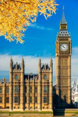 Nálepka Big Ben a sídlu parlamentu, Londýn, Velká Británie.