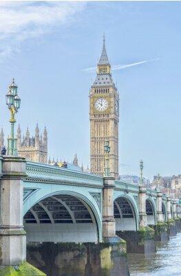 Nálepka Big Ben s Westminster Bridge a Temži v Londýně