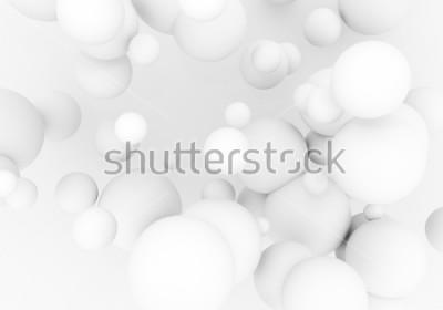 Nálepka Bílé perly létají ve vesmíru. Matte koule 3d míče padají - vykreslit ilustrace. Abstraktní módní stylové tapety pozadí