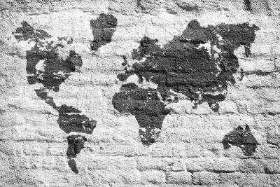 Nálepka Bílé stěny a mapa obraz světa
