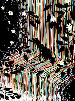 Nálepka Bird a vodopád