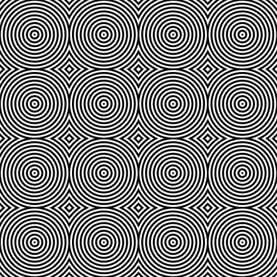 Nálepka Black and White Psychedelic Kruhový Textilní Pattern.