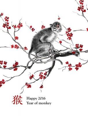 Nálepka Blahopřání rok opice. Opice sedí na větvi z třešňového květu, orientální tušové malby. S čínskou hieroglyf