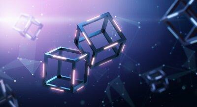 Nálepka Blockchain technology with abstract background
