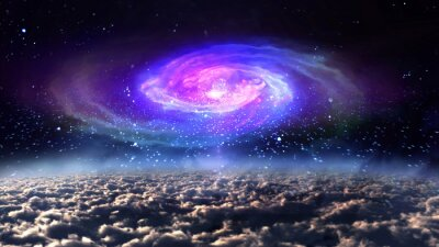 Nálepka blue galaxy v noci v prostoru.