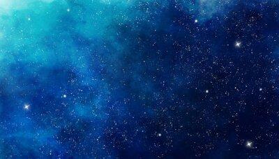 Nálepka Blue watercolor space background. Illustration painting