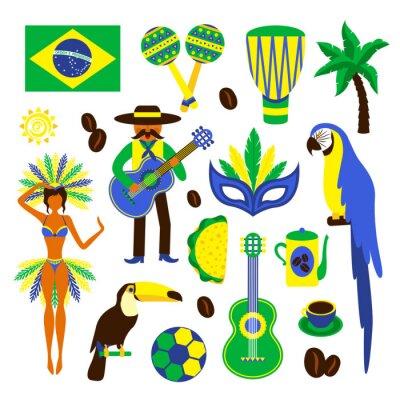 Nálepka Brazílie dekorativní set