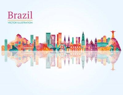 Nálepka Brazílie Landmark panorama. vektorové ilustrace