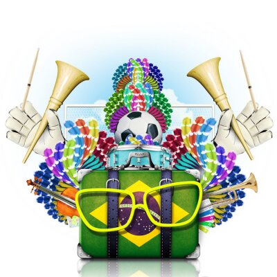 Nálepka Brazílie, mistrovství světa v kopané, festival a karneval