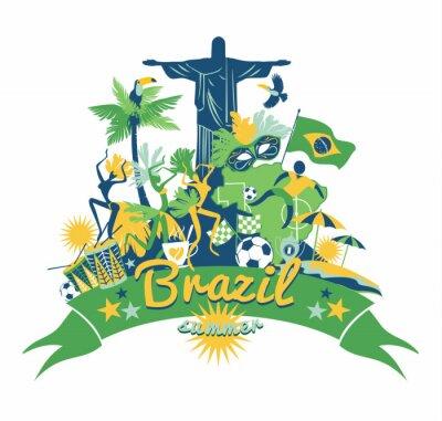 Nálepka Brazílie pozadí