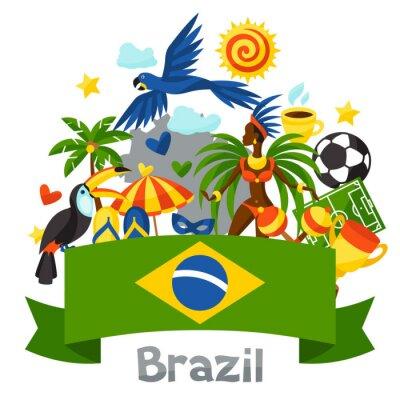 Nálepka Brazílie pozadí se stylizovanými objektů a kulturních symbolů