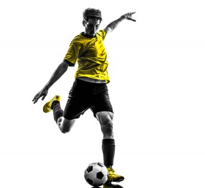 Nálepka brazilský fotbalista fotbalista mladý muž kope siluetu