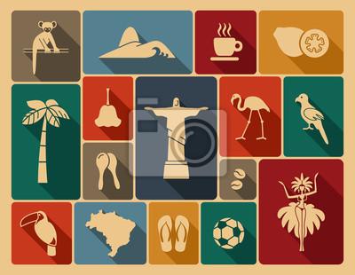 Nálepka Brazilský ikony