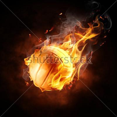 Nálepka bright flamy symbol on the black background