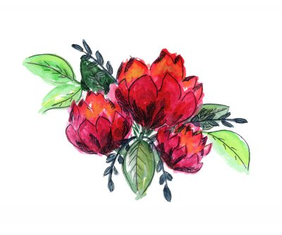 Nálepka Bright watercolor red and green floral bouquet. Color painting composition with ink pen outline pink roses or peonies flowers and fresh leaves for invitation, wedding, greeting cards design, sticker