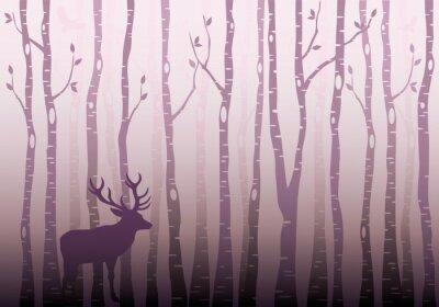 Nálepka Bříza les, vektor