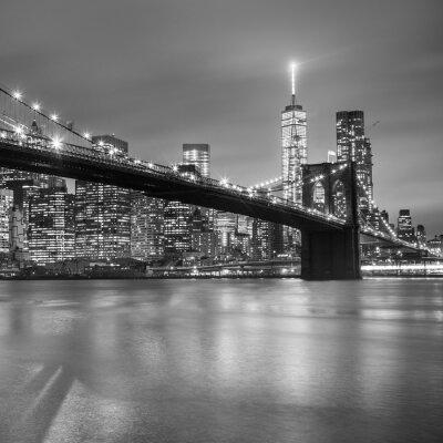 Nálepka Brooklyn bridge za soumraku, New York City.