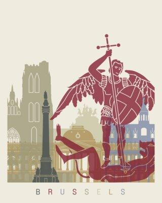 Nálepka Brusel panorama plakát