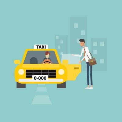 Nálepka business man dostat taxi jít do práce podnikání ve městě