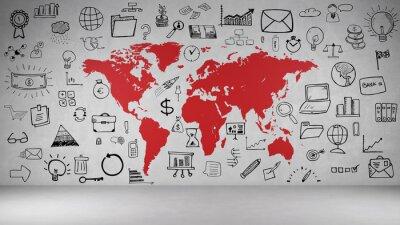 Nálepka Business Symbole hůlka mit Weltkarte