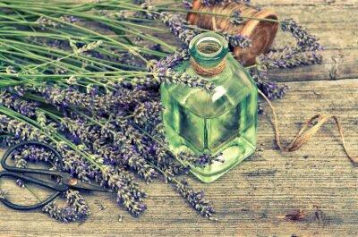 Nálepka Bylinný levandulový olej s čerstvými květinami na dřevěném pozadí