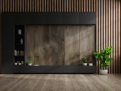 Cabinet Tv In Modern Living Room With, Wood Wall Living Room