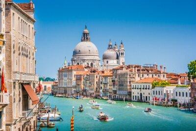 Nálepka Canal Grande s Basilica di Santa Maria della Salute, Benátky, Itálie