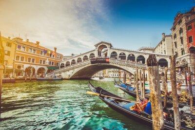 Nálepka Canal Grande s mostem Rialto při západu slunce, Benátky, Itálie