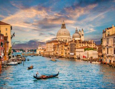 Nálepka Canal Grande s Santa Maria della Salute při západu slunce, Benátky, Itálie
