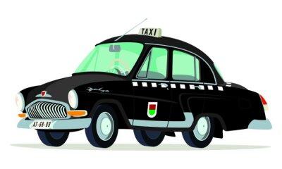 Nálepka Caricatura GAZ Volga M21 taxi Praha - Checoslovaquia negro Vista frontální y boční