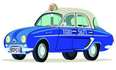 Nálepka Caricatura Renault Dauphine Taxi Saigon - Vietnam Vista frontální y boční