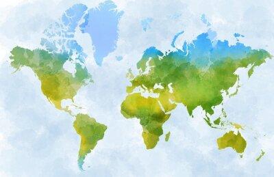 Nálepka Cartina mondo, disegnata illustrata pennellate