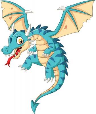 Nálepka Cartoon baby dragon flying on white background