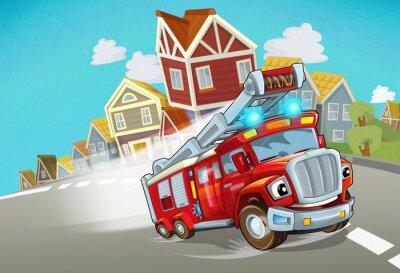 Nálepka cartoon fire brigade driving through the city - illustration for children