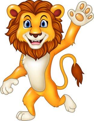 Nálepka Cartoon funny lion ondulace