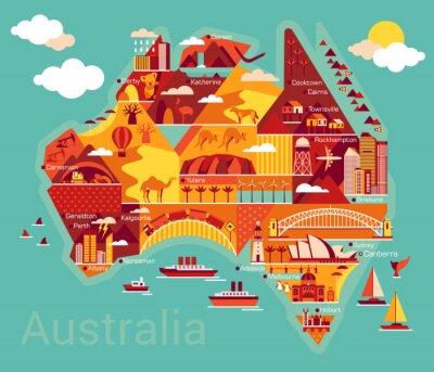 Nálepka Cartoon mapa Austrálie