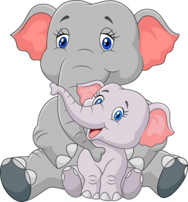 Nálepka Cartoon Matka a dítě slon sedící na bílém pozadí