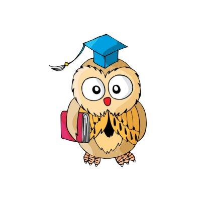 Nálepka Cartoon Owl Jeho inteligentní