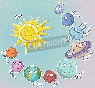 Nálepka Cartoon planets  Solar system  Vector illustration