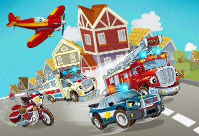Nálepka cartoon scene with fireman vehicle on the road with police car and ambulance - illustration for children